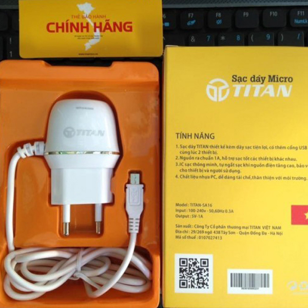 Adapter + Cable MicroUSB 1A TiTan SA16