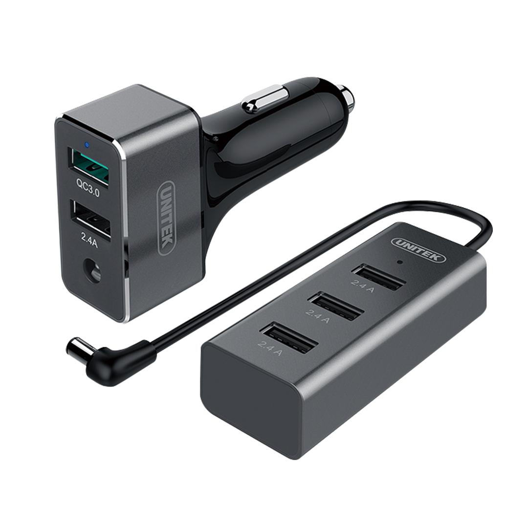 Adapter Car 42W - 5USB Plug (QC 3.0, 2.4A) Unitek Y-P530A