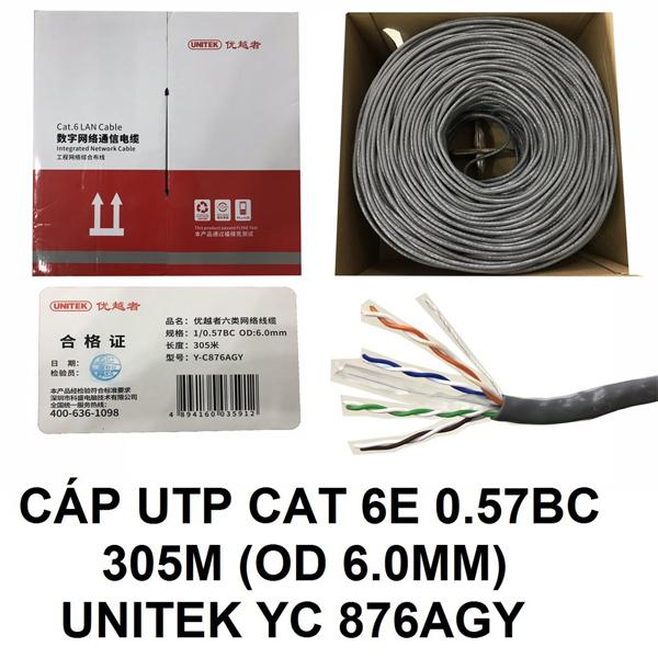 Cable LAN UTP Cat6E UNITEK Y-C876AGY (Met)
