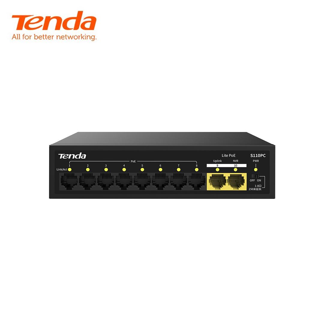 Ethernet Hub/Switch POE 08 port 10/100 + 2 port Uplink 10/100 Tenda S110PC