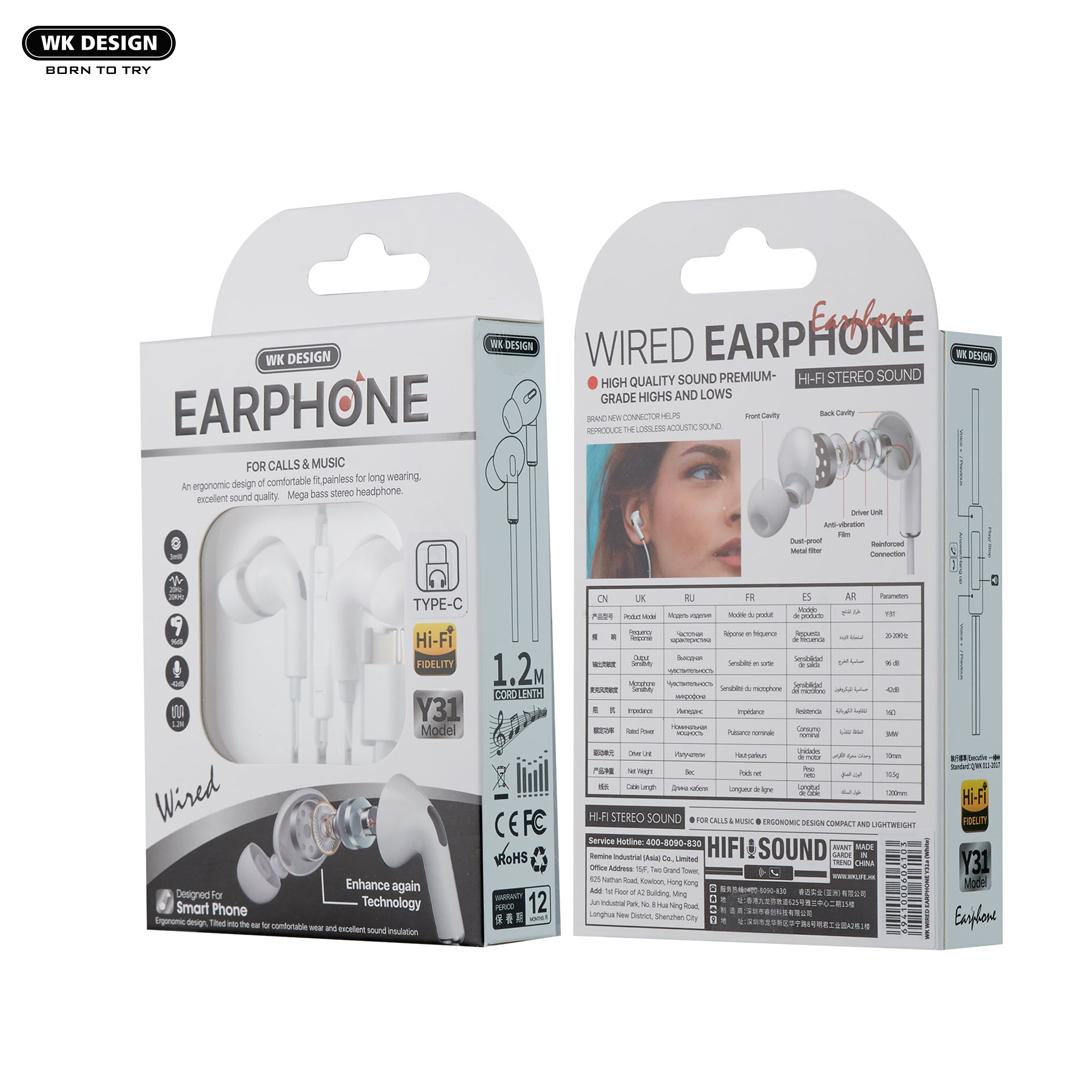 Headphone In-ear REMAX WEKOME Y31 / Lightning