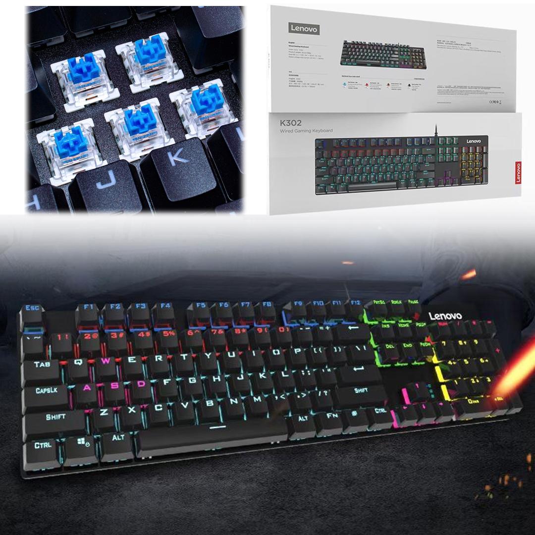 Keyboard USB Gaming/RGB Mechanical (Green Switch) Lenovo K302