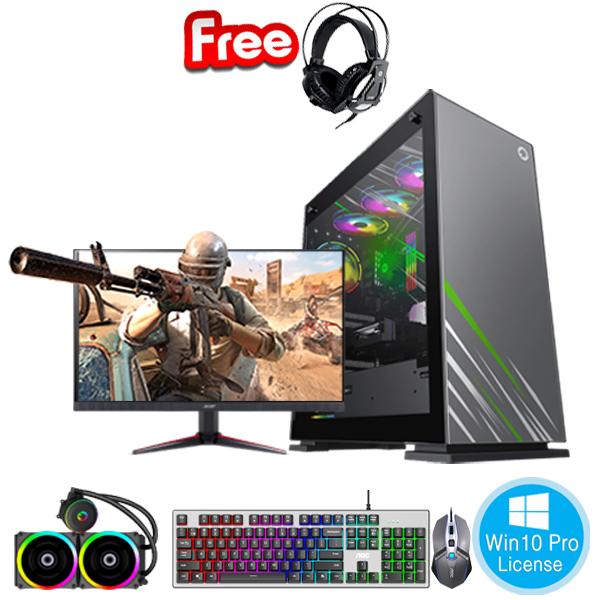 PC-FullSet Gaming-Design Intel Core i7-10700 2.9Ghz Tubor 4.8Ghz 8cores-16threads Mainboard Z490 RAM DDR4 32Gb M.2 NVME 500Gb HDD1000Gb VGA GTX1660 6Gb PSU 850W Monitor 23.8