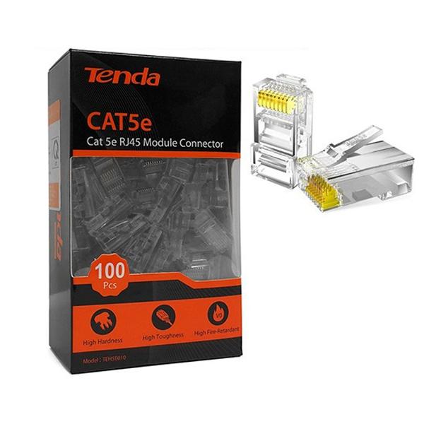 Plug RJ45 Cat5E Tenda TEH5E010 (Box 100 / ເປັນຢາງ