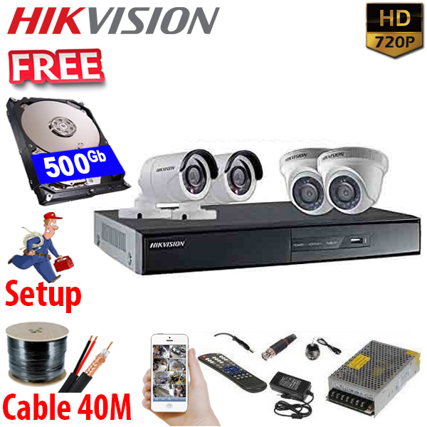 SET HIKVISION 04Ch HDTVI 1.0Mpx / HDD 500Gb / Free Accessories