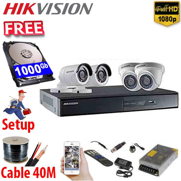 SET HIKVISION 04Ch HDTVI 2.0Mpx / HDD 1000Gb / Free Accessories / 265+ ເທກໂນໂລຢີໃຫມ່ ເກັບຂໍມູ່ນໄດ້ຫລາຍກ່ວາ