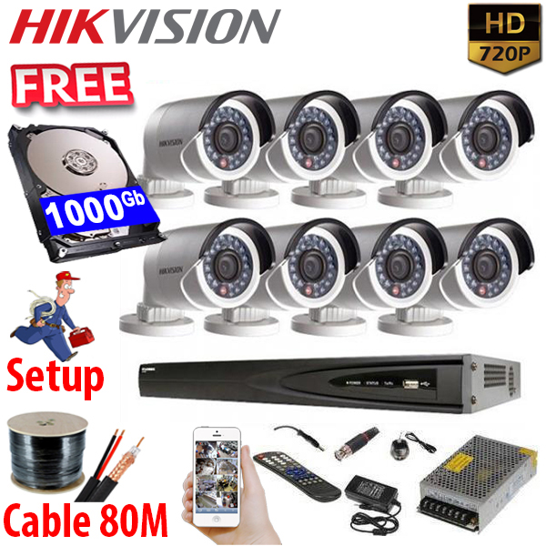 SET HIKVISION 08Ch HDTVI 1.0Mpx / HDD 1000Gb / Free Accessories