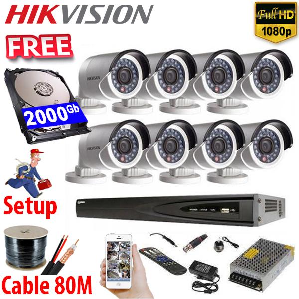 SET HIKVISION 08Ch HDTVI 2.0Mpx / HDD 2000Gb / Free Accessories / 265+ ເທກໂນໂລຢີໃຫມ່ ເກັບຂໍມູ່ນໄດ້ຫລາຍກ່ວາ