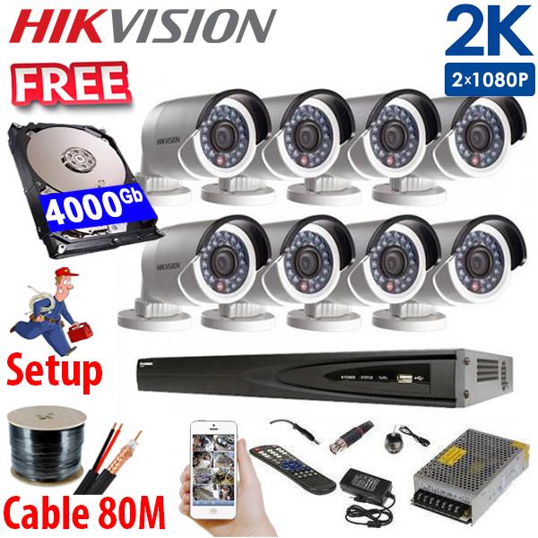 SET HIKVISION 08Ch HDTVI 5.0Mpx / HDD 4000Gb / Free Accessories / 265+ ເທກໂນໂລຢີໃຫມ່ ເກັບຂໍມູ່ນໄດ້ຫລາຍກ່ວາ