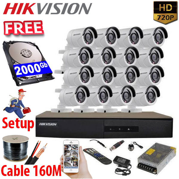 SET HIKVISION 16Ch HDTVI 1.0Mpx / HDD 2000Gb / Free Accessories