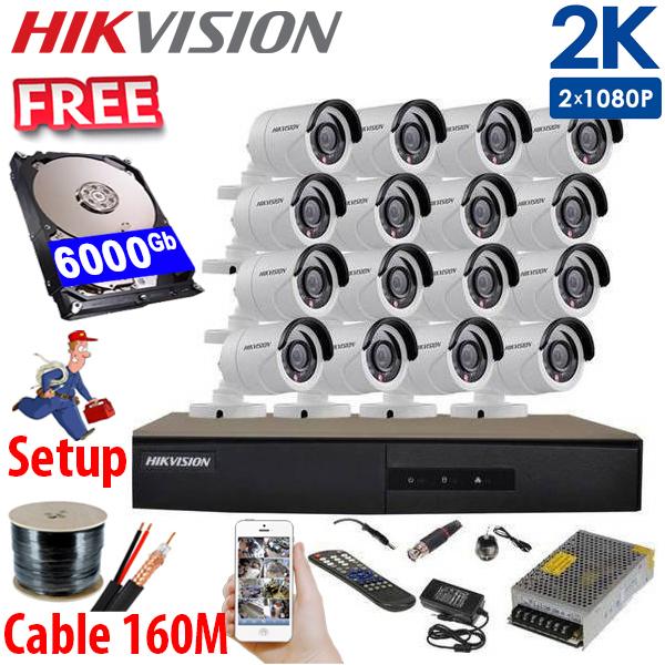 SET HIKVISION 16Ch HDTVI 5.0Mpx / HDD 2*4000Gb / Free Accessories / 265+ ເທກໂນໂລຢີໃຫມ່ ເກັບຂໍມູ່ນໄດ້ຫລາຍກ່ວາ