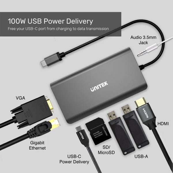 Type-C to HDMI+VGA+LAN(Gigabit)+2USB 3.0+Type-C+Audio+SDCard Unitek D1019A