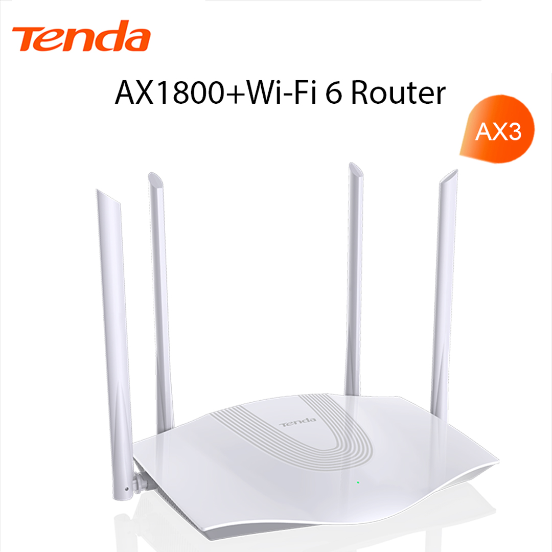 Wi-Fi 6 Router AX1800 Tenda AX3 (4*6dBi Antena, 1WAN - 3LAN Gigabit)