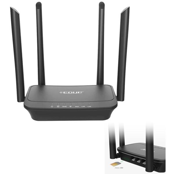 Wireless Router 4G / 300Mbps EDUP R102 (4*6dBi Antena, 1WAN - 2LAN 10/100)